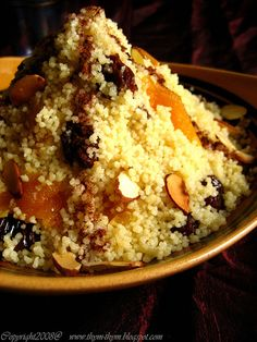Couscous Egyptian style, with butter and/or thickened cream and sugar, plus nuts and dried fruit.