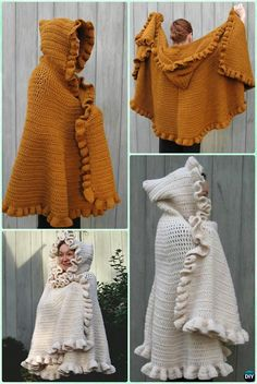 Crochet Ruffled Shawl Cape with Hoodie Free Pattern - Crochet Women Shawl Sweater Outwear Free Patterns