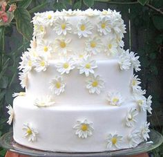 Daisy Wedding Cake Designs | Good Looking Daisy and the Colors for Wedding Cake Decoration