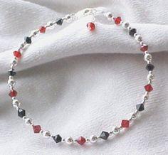 Anklets: Black and Red Swarovski & Sterling Silver HandCrafted Ankle Bracelet #Handmade