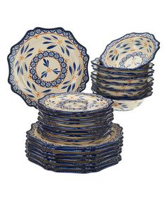 Loving this Blue Old-World 24-Piece Dinnerware Set on #zulily! #zulilyfinds