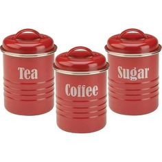 tin enameled red rim canisters - Google Search