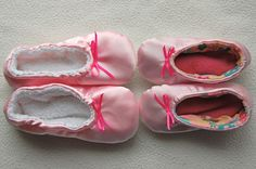Ballet Slippers pattern and tutorial - for 2 year olds (size 7) and 4 year olds(size 11-12)