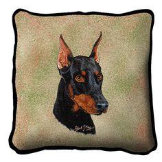 Doberman Pinscher Dog Portrait Pillow