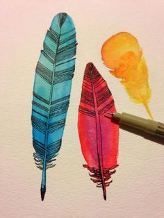 maya*made: feather meditation - paint watercolor feathers then fill in with small black lines and details when dry