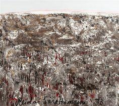 Reidar Särestöniemi(Finnish, frosted Birch Grove 1970 Village in Winter 1976 Autumn Landscape(the first snow) 1973 Frosty Birches 1977 The cold night and the crescent Autumn. Fun Prints, Poster Prints, First Snow, Cold Night, Finland, Auction, Landscape, Abstract, Artwork