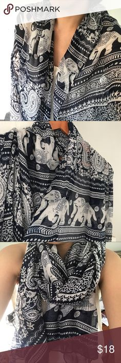 Thai Ethnic Elephant Chiffon Scarf/ Shawl Lightweight but large enough to be a wrap and shawl. I bought three different colors, but only used one. I've decided to let go of the other NWT ones. Made with chiffon material. Accessories Scarves & Wraps