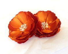 Burnt orange wedding hair clip orange flower hair by bloomsnbows
