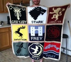 [No Spoilers] My old college friend spent months crocheting this GoT X-Mas gift for her bf. Lots of patience resulted in lots of awesome.