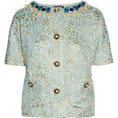 Dolce & Gabbana Jewel-embellished silk-blend jacquard jacket (£1,194) ❤ liked on Polyvore featuring outerwear, jackets, tops, coats & jackets, coats, button jacket, dolce gabbana jacket, jacquard jacket, blue jackets and embellished jackets