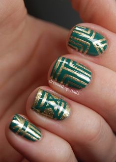 Emerald and gold striping tape art deco style nail art