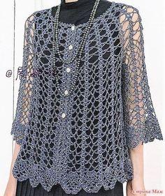 Maglietta elegante con un punto traforatissimo Crochet Jacket, Crochet Poncho, Crochet Cardigan, Knit Crochet, Crochet Summer, Crochet Superman, Crochet Amigurumi, Fashion Sites, Top Pattern