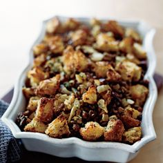 This stuffing recipe has sweet chestnuts, savory fennel and salty pancetta. The stuffing is a great accompaniment to Thanksgiving turkey and Christmas roasts.