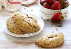 Strawberry Rhubarb Hand Pies with Pecan Crust on DiamondNuts.com #DiamondNuts