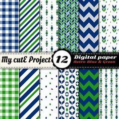 Papier digital - pack de 12 feuilles - rétro bleu et vert