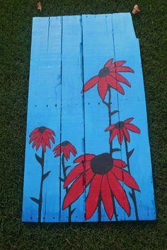 """Red Flowers"" #Pallet #Painting #RachelPaints"