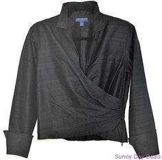 J McLaughlin Womens Blouse Silk Wrap Front Black 3/4 Sleeve Flip Cuff Side Zip 8 #JMcLaughlin #Blouse
