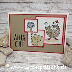 Stampin Up Stempel Set das gelbe vom Ei Glückwunschkarte und Verpackung.