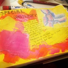 A special memory. Written and painted onto the first page of my first art journal.