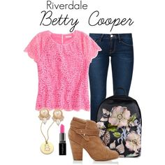 Pll Outfits, Jean Outfits, Cute Outfits, Fashion Outfits, Betty Cooper Style, Betty Cooper Outfits, Riverdale Set, Riverdale Fashion, Lili Reinhart