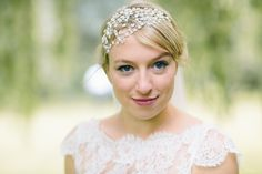 Emma in her Hermione Harbutt Tallulah Pearl Headdress | Blonde Hair Inspiration | Albert Palmer Photography http://www.hermioneharbutt.com/wedding/hair_accessories/buy.php?Product=232&Title=Tallulah+Pearl+Headdress