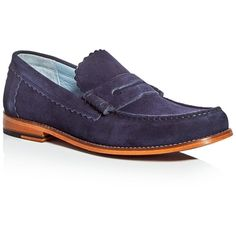 Grenson Ashley Penny Loafers ($203) ❤ liked on Polyvore featuring men's fashion, men's shoes, men's loafers, navy, mens penny loafer shoes, mens leather sole shoes, mens leather shoes, grenson mens shoes and navy blue mens shoes
