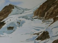 Sevina Yates Fine Art Watercolour done at 2am when I couldn't sleep . Mountain painting .