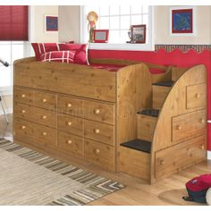 Beds with Dressers Underneath | ... furniture kids loft bunk beds stages twin loft bed w drawers right