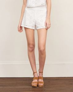 Womens Structured Lace Short