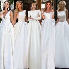 Simple white satin long prom dress, white evening dress - New ideas Disney Wedding Dress, Wedding Dress Black, Top Wedding Dresses, Wedding Dress Trends, Bridal Dresses, Wedding Gowns, Bridesmaid Dresses, Natural Wedding Dresses, Ivory Wedding