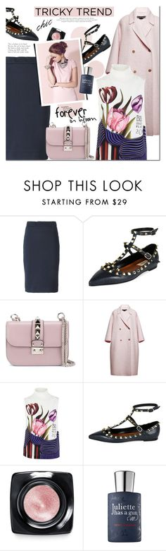 """""""Romantic High-Neck Blouses"""" by mada-malureanu ❤ liked on Polyvore featuring DKNY, Valentino, Rochas, Mary Katrantzou, Bobbi Brown Cosmetics, Juliette Has A Gun, women's clothing, women's fashion, women and female"""