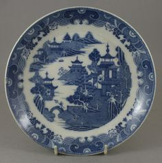 Antique Pottery Pearlware Blue Transfer Chinaman With Rocket Dished Plate 1810 | eBay