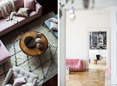 Interior Inspo: The Pink Sofa Pink Sofa, Home Comforts, Beautiful Interiors, Shag Rug, Design Trends, Friday, Living Room, Bedroom, House