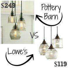 Pottery Barn Paxton Glass 3-Light Pendant | Decor Look Alikes | Bloglovin'