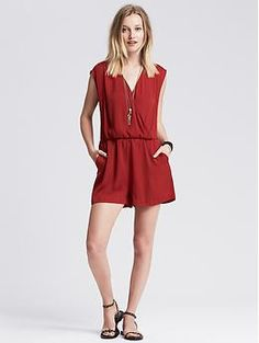 Red Faux-Wrap Romper | Banana Republic