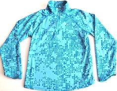 Nike Athletic Pullover Top Girl's Size Large Dri-Fit Running Half Zip Blue Dots #Nike #Everyday