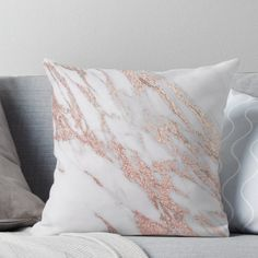 Super soft and durable spun polyester Throw pillow with double-sided print. Cover and filled options. Soft textured faux rose gold foil adorning white and grey marble.