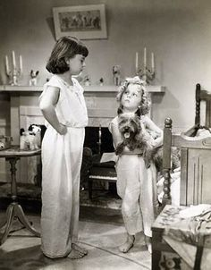 Jane Withers and Shirley Temple with Terry in Bright Eyes (1934)  Terry the dog was Toto in the Wizard of Oz