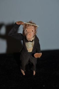 Old Doll Toy Miniature Monkey Wind Up Conductor Sweet