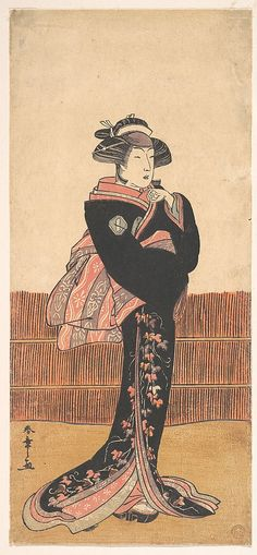 The Third Azuma Tozo as a Woman in a Black Kimono  Katsukawa Shunshô  (Japanese, 1726–1792)  Period: Edo period (1615–1868) Date: probably 1782 Culture: Japan Medium: Polychrome woodblock print; ink and color on paper