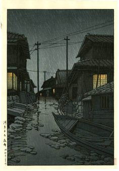 HASUI Japanese Woodblock Print Night Shower | eBay