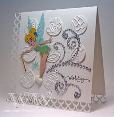 Splitcoaststampers FOOGallery - WMW Tinkerbell's Wish Birthday Scrapbook, Disney Scrapbook, Scrapbook Cards, Homemade Birthday Cards, Homemade Cards, Disney Birthday Card, Tinkerbell And Friends, Disney Cards, Cricut Cards