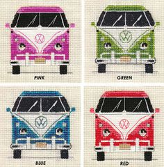 cross stitch kits VW CAMPER VAN ~ Choice of 4 COLOURS ~ Full counted cross stitch kit, Retro in Collectables, Transportation, Trucks/ Lorries/ Vans Counted Cross Stitch Patterns, Cross Stitch Designs, Cross Stitch Embroidery, Hand Embroidery, Vintage Embroidery, Embroidery Patterns, Lazy Daisy Stitch, Retro Campers, Le Point