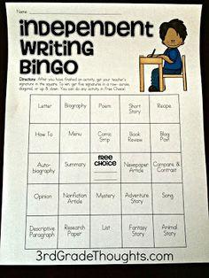Independent Writing Time Bingo & Prompt Organization