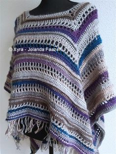 ****CROCHET-PATTERN **** (English-US & Dutch)  Rectangular poncho with long back.  It has some playfull ribbing.  This poncho is crocheted with Fenna 100 grams / 240 meters, with crochet hook no. 6 (Dutch size).  The front side is approx 51 cm (height) * 100 cm (width).  The back side is approx 66 cm (height) * 100 cm (width).  Necessities:   Fenna* – approx. 588 grams = approx. 1411,2 meters - 1543,85 yards    * Fenna is self-striping yarn suitable for hook no. 4 – 4,5 (Dutch size)…