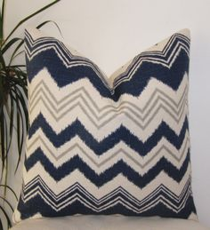 "Navy Blue - Ivory and Gray Zig Zag  Pillow Cover - Decorative Pillowcase - 18"" Chevron Pillow Cover"