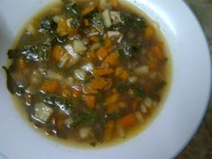 SPINACH SOUP WITH LENTILS NGREDIENTS - 50 g dried lentils, - A bundle of spinach, - 6 carrots, - 1 parsley root, - A small celery, - Dry white onion, - Tomato paste. - Chicken, - Salt, - Pepper.