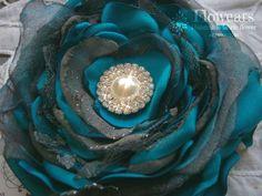 Blue and gray fabric flower, Bridal flower, Wedding accessory, Hair accessory, Sash, Headpiece, Fabric flower brooch, Flower girl accessory on Etsy, $21.50