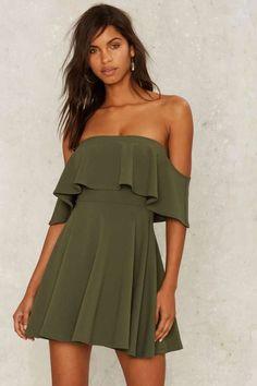 Off the Deep End Mini Dress - Olive