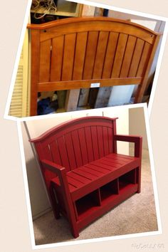 Red Bench made from Baby Crib.